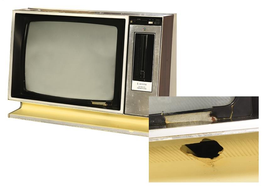 A TV set shot by Elvis Presley
