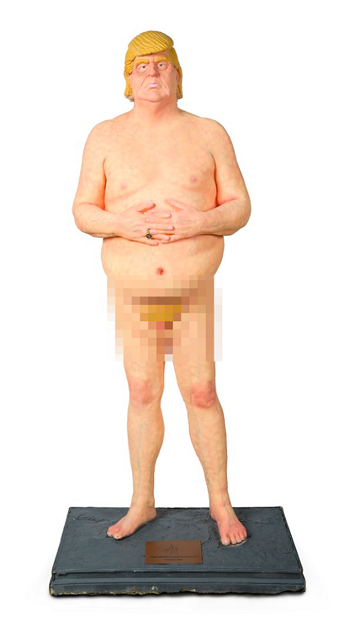 A naked statue of US President Donald Trump