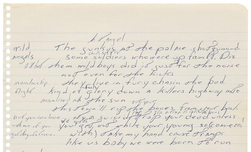 Bruce Springsteen's handwritten Born to Run lyrics