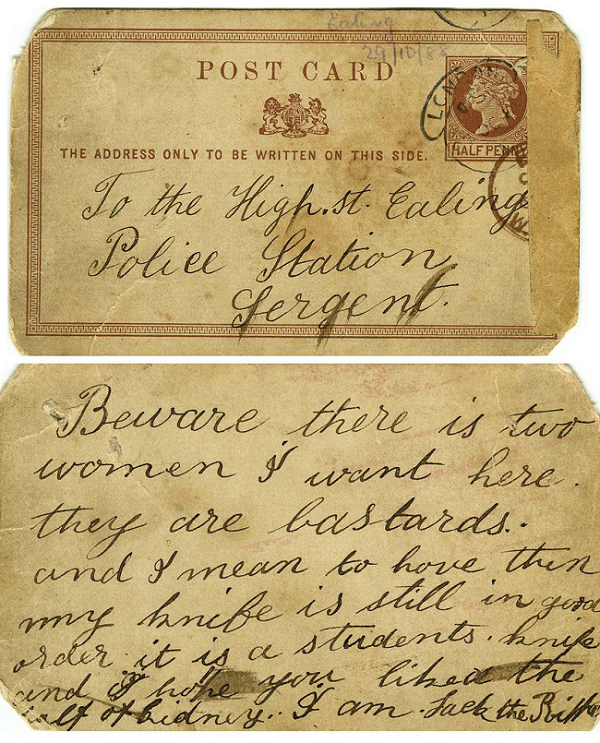 A postcard from the original Jack the Ripper police evidence file