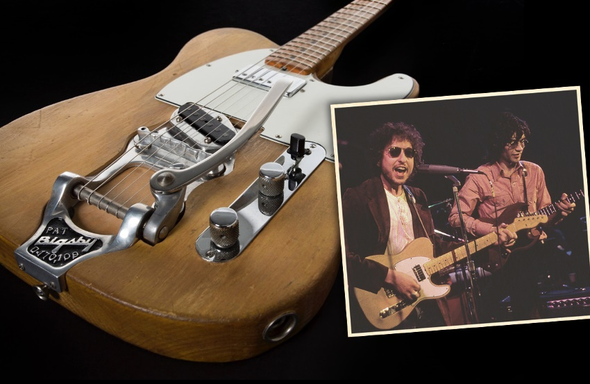 Bob Dylan and Robbie Robertson stage-played guitar