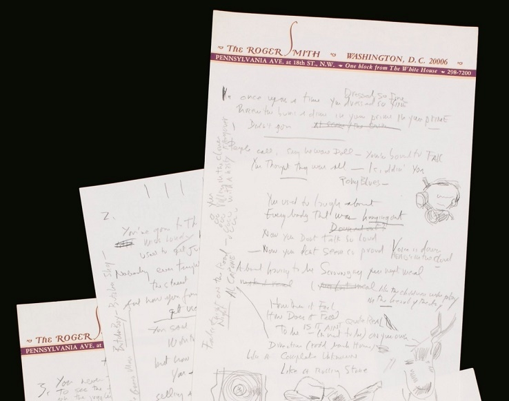 Bob Dylan's original working lyrics for Like A Rolling Stone, which sold at Sotheby's in 2014 for $2,045,000