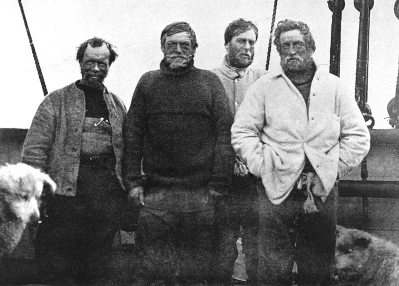 Left to right: Frank Wild, Ernest Shackleton, Eric Marshall and Jameson Adams