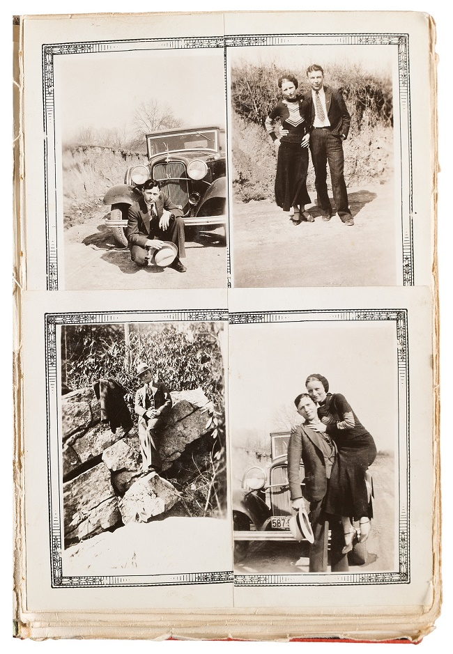 A page of photographs taken from an album owned by Barrow's older sister Nell May Barrow