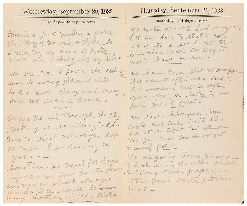Clyde Barrow's poem, apparently written as a response to Parker's own verse