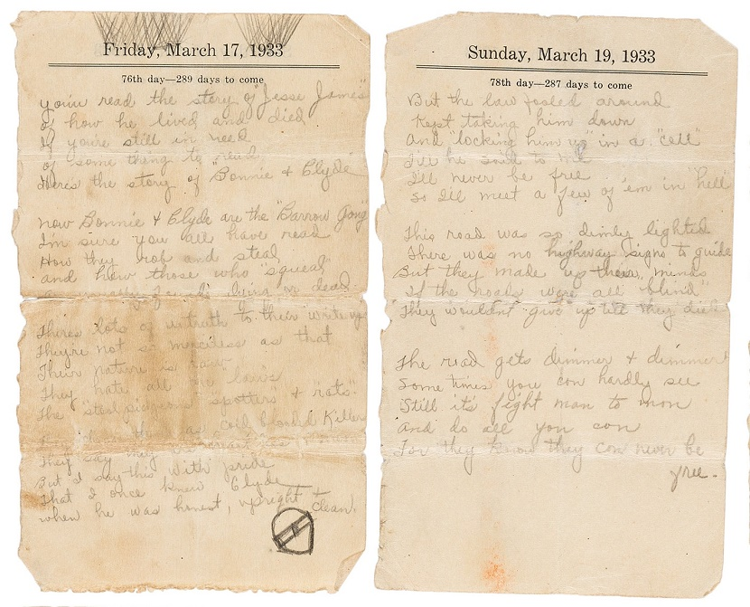 Bonnie Parker's original handwritten poem, 'The Story of Bonnie and Clyde'