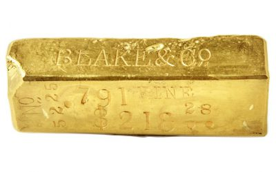 A Blake & Co. Gold Ingot recovered from the wreck of the SS Central America