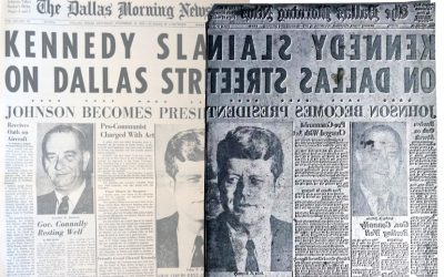 "The unique Dallas Morning News printing plate, bearing the headline ""Kennedy Slain on Dallas Street"""