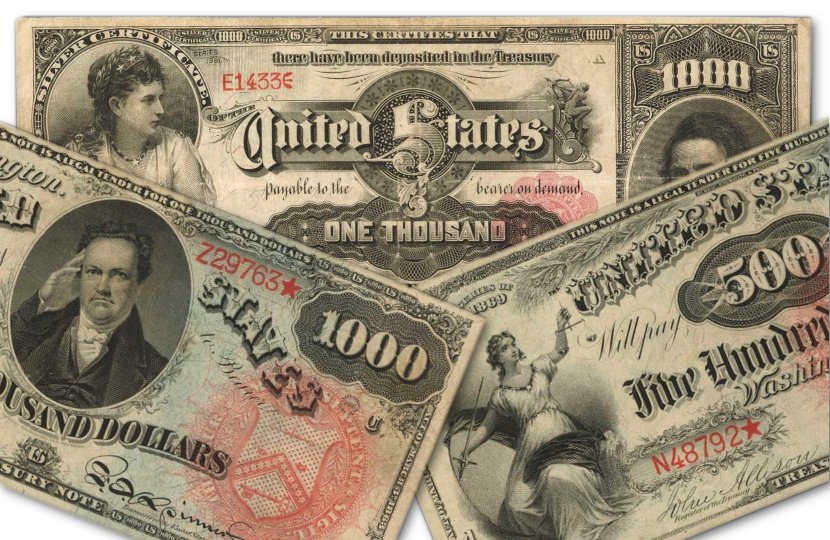The three rare 19th century banknotes could between them sell for up to $8 million in Baltimore next week