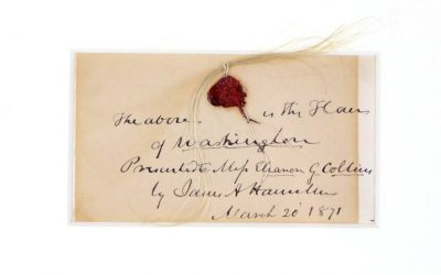 A lock of President George Washington's hair, originally owned by the family of Founding Father Alexander Hamilton