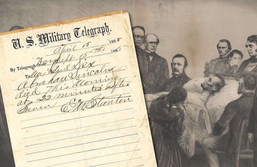 The original handwritten telegram which officially announced the death of Abraham Lincoln
