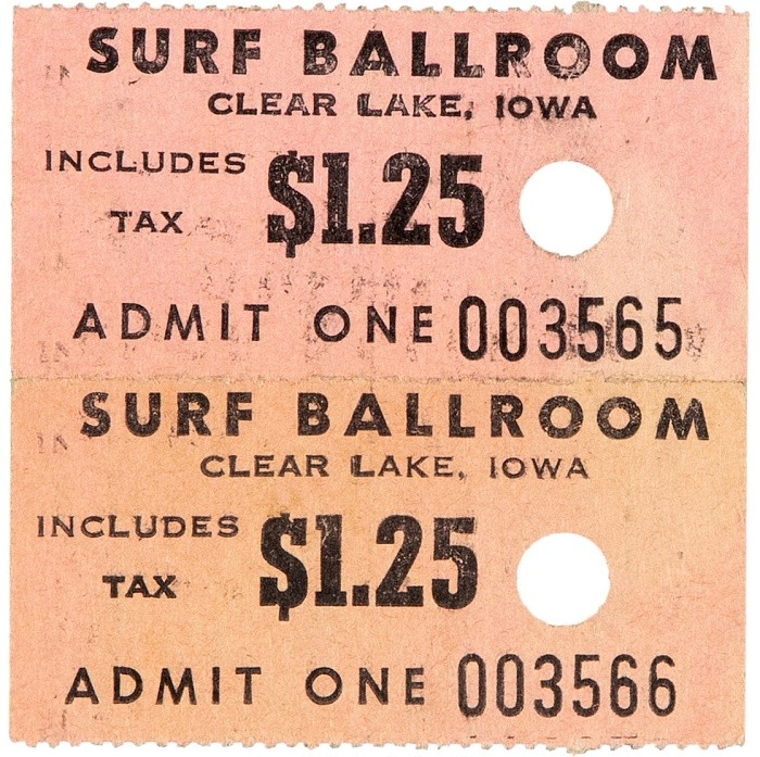 """Used ticket stubs for Buddy Holly's final show at the Surf Ballroom in Clearlake, Iowa on February 2, 1959 - """"The Day The Music Died"""""""