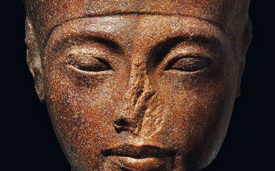 The sculpture of Tutankhamen's head up for action at Christie's