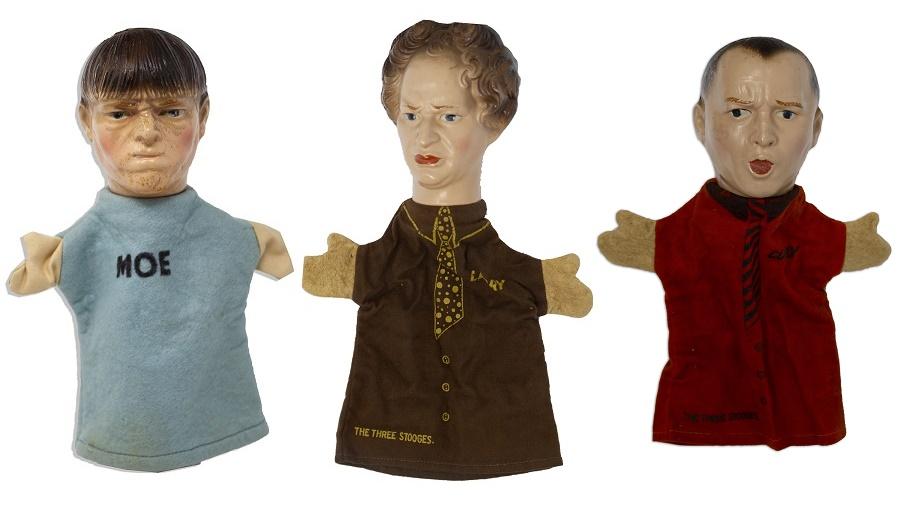 A set of rare Three Stooges handpuppets, circa 1937.