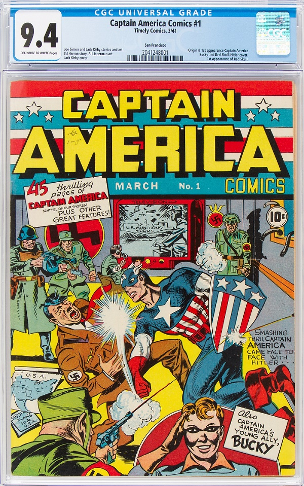 The rare copy of Captain America #1 was graded CGC 9.4, and sold for a world record price of $915,000.