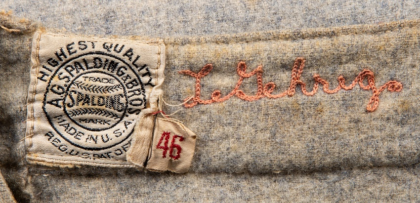 The historic jersey still has Gehrig's name sewn inside the collar