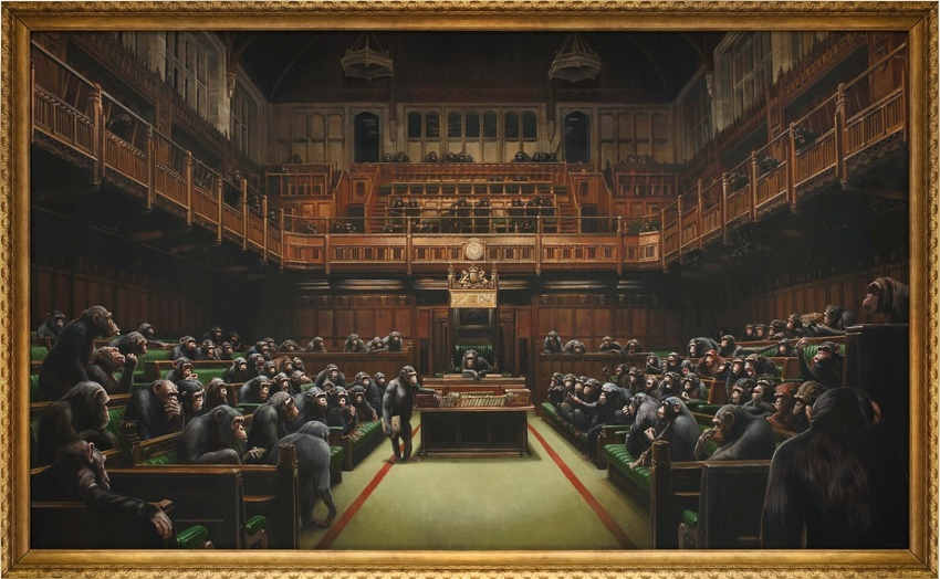 Devolved Parliament by Banksy (2009), sold at Sotheby's for £9,879,500 (Images: Sotheby's)