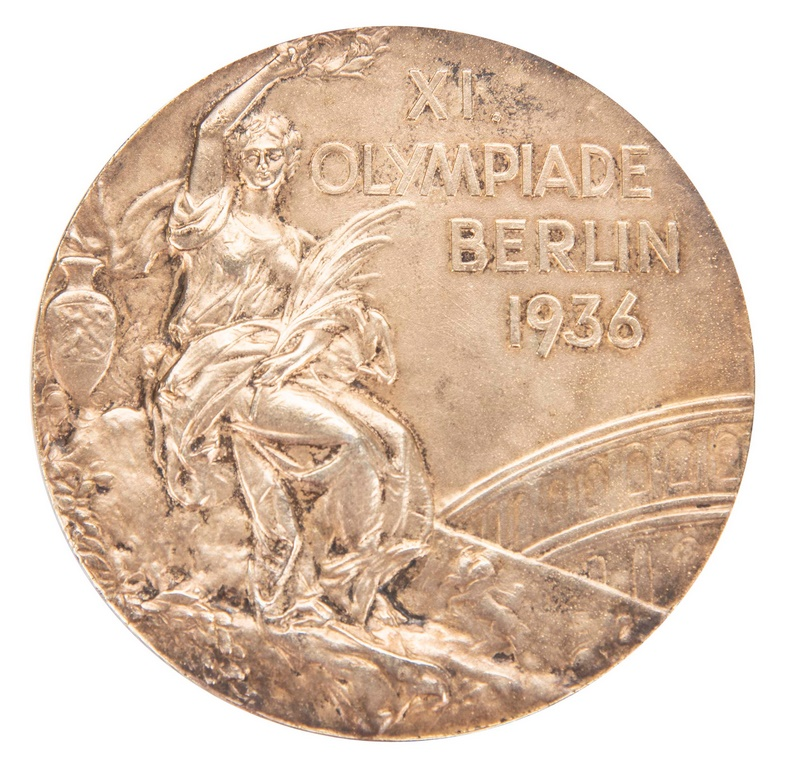 One of Jesse Owens' two surviving gold medals from the 1936 berlin Olympics (Image: Goldin Auctions)