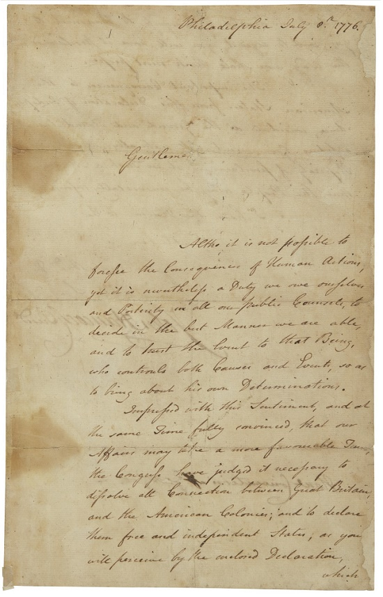 Just five of the John Hancock letters sent out to the original 13 colonies are known to have survived (Image: Sotheby's)