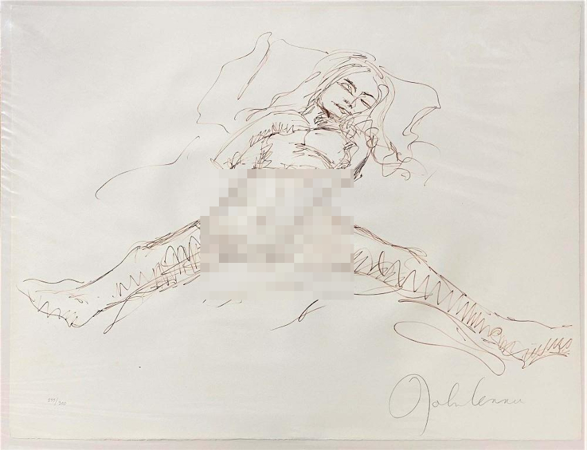 Lennon created a series of erotic sketches depicting scenes of his honeymoon with Yoko Ono, which were later confiscated by Scotand Yard as 'pornographic' during an exhibition in London in 1970 (Image: Omega Auctions)