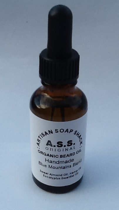 a 30ml bottle with dropper filled with vegan organic beard oil