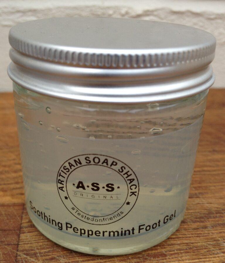a jar of vegan, soothing peppermint foot gel