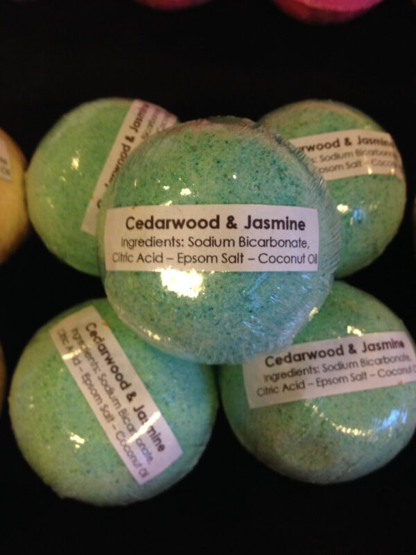 a vegan handmade all natural bath bomb coloured green