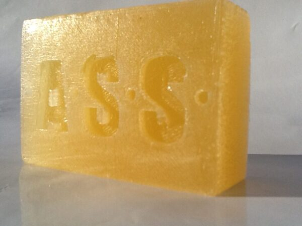 a distinctively branded, handmade bar of vegan Hemp Oil soap, Golden in colour and weighing 130 grams.