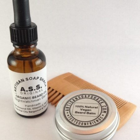 Grooming for Men set including a Moustache and Beard comb, Organic Beard Oil and Moustache and Beard Balm