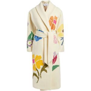 The Wick - Floral Embroidered Shawl Coat, Mira Mikati