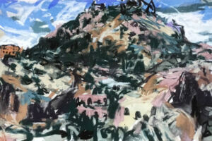 The Wick - End of Light Monte Pellegrino, Tyga Helme Chalk pastel and watercolour on paper 70 x 25cm