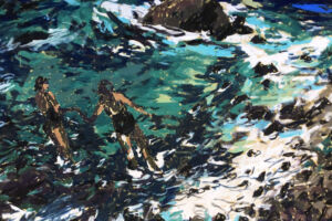 The Wick - Two swimmers, Tyga Helme Chalk pastel on paper  70 x 39cm