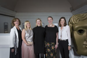 The Wick - The BAFTA/Prince William Scholarship recipients from left to right; Hannah Cole, Hazel Allan & Daisy Fernandez with Sara Putt & Amanda Berry (CEO, BAFTA),  Courtesy of BAFTA