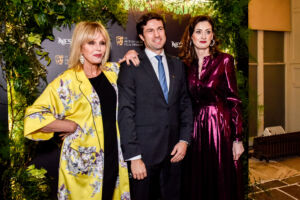 The Wick - Francisco Nogueira (Managing Director UK, Nespresso), Amanda Berry (BAFTA Chief Executive) with Joanna Lumley (Host),  Courtesy of BAFTA