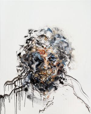 The Wick - Maggi Hambling Self-portrait, oil on canvas 60 x 48 inches