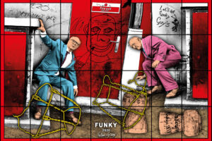 The Wick - Gilbert & George FUNKY 2020 302 x 444 cm | 118 7/8 x 174 13/16 in. © Gilbert & George Courtesy White Cube