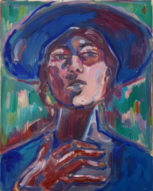 The Wick - Self portrait with a wide brimmed hat and glove, oil on canvas, 50cm x 40cm, 2020
