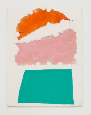 The Wick - Untitled, Scarlett Bowman  Fragment orange and pink canvas, green foam.  Composite and Mixed Media  42-x-32cm