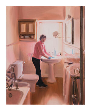 The Wick - Caroline Walker, 'Bathroom Sink Cleaning, Mid Morning, March', 2019. Oil on board, 45 x 36cm (17 3/4 x 14 1/8in). Copyright Caroline Walker. Courtesy the artist and Ingleby Gallery, Edinburgh. Photo by Peter Mallet.