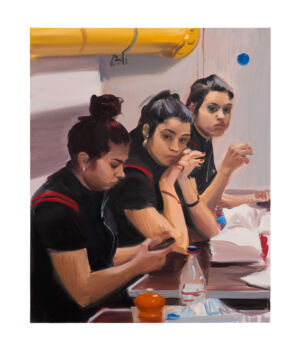 The Wick - Caroline Walker, 'Three Maids', 2018. Oil on linen, 80 x 65cm (31 1/2 x 25 5/8in). Copyright Caroline Walker. Courtesy the artist and GRIMM, Amsterdam | New York. Photo by Peter Mallet.