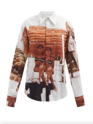 The Wick - Fashion Bianca Saunders, Jamaica-print cotton-blend poplin shirt