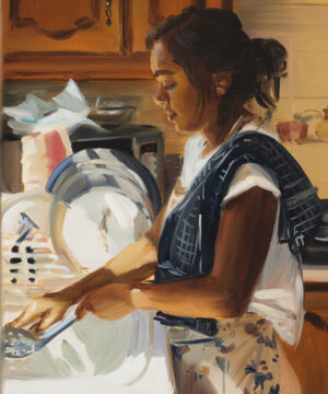 The Wick - Caroline Walker, 'Lisa Washing Dishes', 2021. Oil on board, 45 x 36cm (17 3/4 x 14 1/8in). Copyright Caroline Walker. Courtesy the artist; Stephen Friedman Gallery, London and GRIMM, Amsterdam | New York. Photo by Peter Mallet.