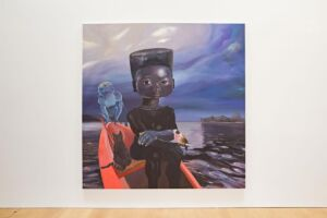 The Wick - Ndidi Emefiele, Sail me down deep river, 2020, mixed media and acrylic on canvas, private collection, London