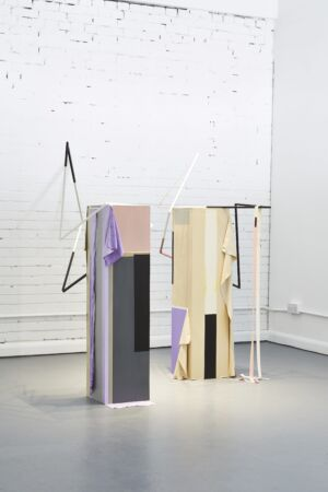 The Wick - Balance and Obedience, 2017 MDF, steel, latex, paint pigment, rubber