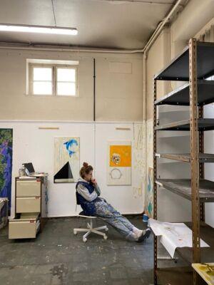 The Wick - Bex Massey in her Studio at The Columbia Spring 2021 Spring Residency. (c) Yulia Lebedeva  @masseybex @thecolumbialondon