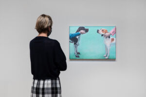 The Wick - Lydia Blakeley, Pointers, 2019, in Mixing It Up Painting Today at Hayward Gallery, 2021. © Lydia Blakeley 2021. Courtesy of Hayward Gallery. Photo Rob Harris