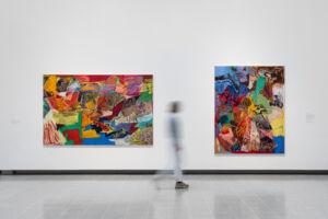 The Wick - Rachel Jones, lick your teeth, they so clutch, 2021, and lick your teeth, they so clutch, 2021, in Mixing It Up Painting Today at Hayward Gallery, 2021. © Rachel Jones 2021.