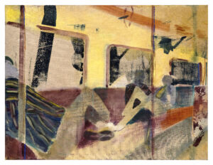 The Wick - End of the Line, distemper, oil and screen print on linen, 160x210cm, 2021