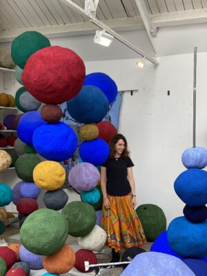 The Wick - Annie Morris with her Stack sculptures. (Courtesy of Annie Morris)