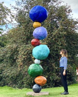 The Wick - Annie Morris with her Stack sculpture. (Courtesy of Annie Morris)